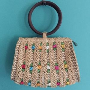 Vintage Woven Straw Floral Purse Boho Hippie